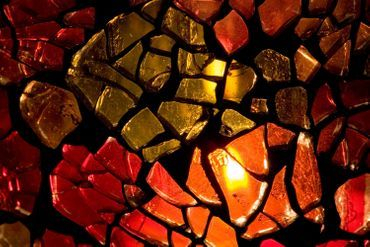 Metallic Crackled Glass Mosaic Pieces