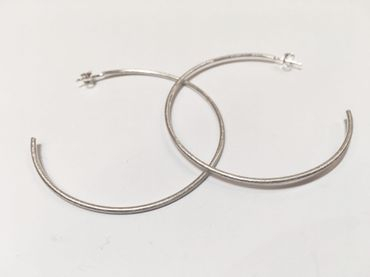hand made silver hoop earrings