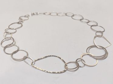 hand made silver hoop necklace