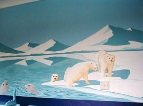 mural polar hand painted ice iceland mountains hills icebergs blue cold bear penguin snow