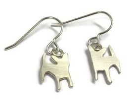 hand made silver dog earrings