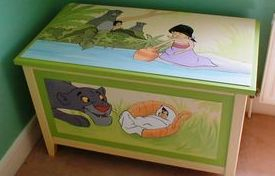 jungle book disney furniture chest wooden childrens room mowgli trees green hand painted mural