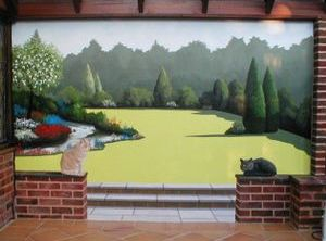 trompe loeil optical illusion mural hand painted landscape grass scenery brick wall conservatory