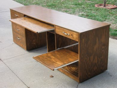 "Solid Pine plywood desk with pine trim 8ft long x 24"" deep"