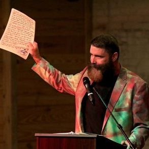 Mick Foley giving his ABC's of Professional Wrestling acceptance speech