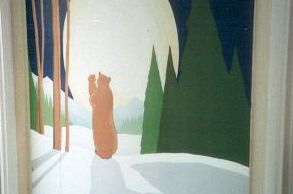 mural hand painted moon light bears forest snow trees mummy baby shadow