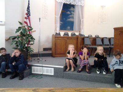 Children's church, quiet listening.