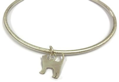hand made silver cat bangle