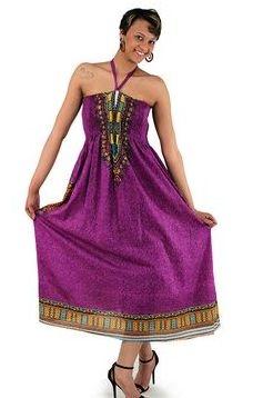 Traditional Print Tube Dress: Purple  Show off your figure with this traditional print tube dress. 100% rayon