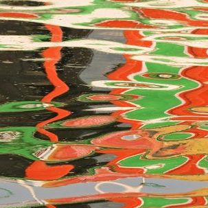 "src=""australian womens travel.jpg alt=womens tours,reflection of wooden painted boat on the gangesm varanasi , India"