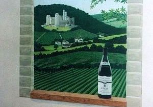vineyard window archway mural grapes vines landscape trompe loeil optical illusion hill mountain hand painted