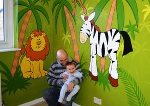 jungle nursery mural hand painted cartoon palm trees zebra lion flamingo green