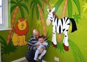 jungle nursery mural hand painted cartoon palm trees zebra lion flamingo green