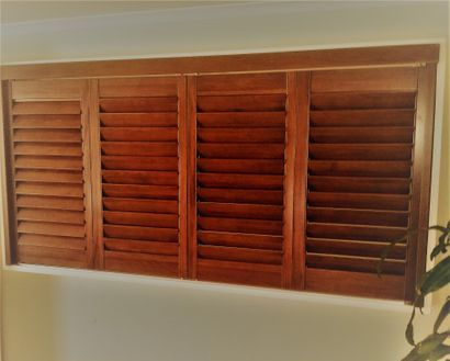 Timber Plantation shutters - timber color to different whites availablr