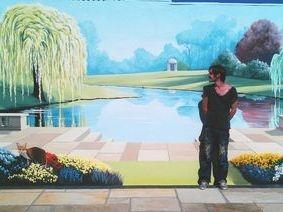 garden trompe loeil trees grass scenery landscape garden mural hand painted