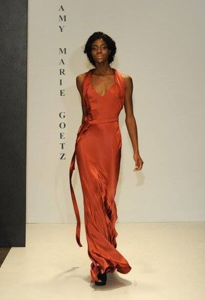 Silk Coral Halter Neck Gown