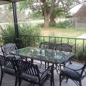 Outdoor dining overlooking the farm