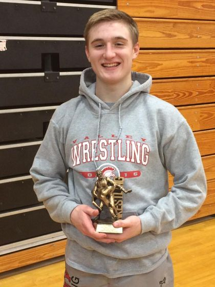 "Nathan Aylward was awarded the MOW for his outstanding performance at the ""More than a Game"" Duals in Chittenango."