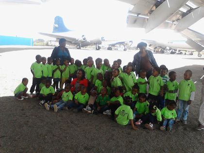 Children visiting Rand Airport in Johannesburg