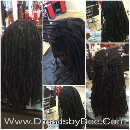 Repairs on natural dreadlocks that had normal wear and tear at roots and throughout