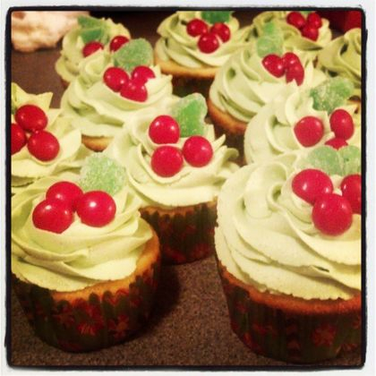 Vanilla bean cupcakes all dressed up for Christmas!