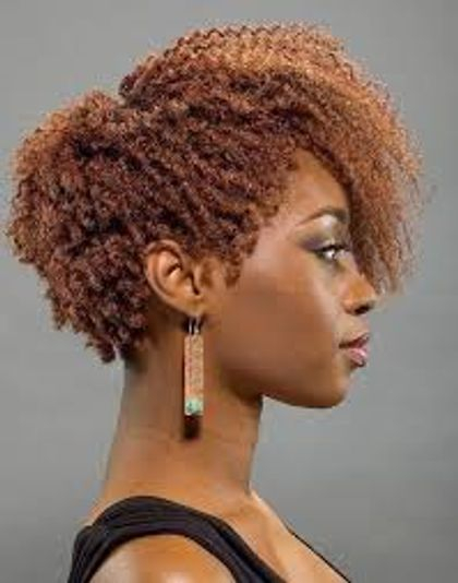 Custom Colored Natural Tresses. Comb Twist With Pulled Spiral Set.