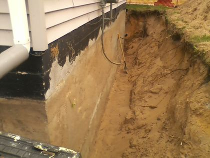 Exterior Basement Wall Repair