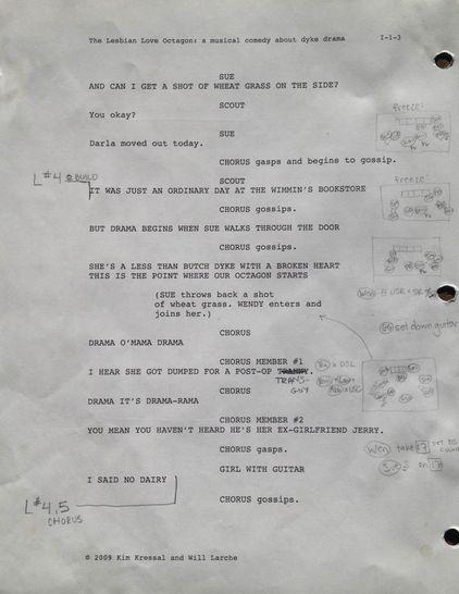"Rehearsal Script - ""Lesbian Love Octagon"""