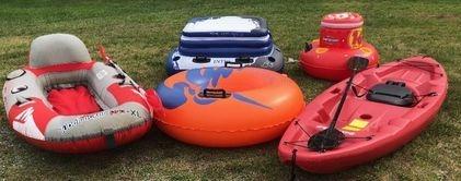 rafts, kayaks, floating coolers