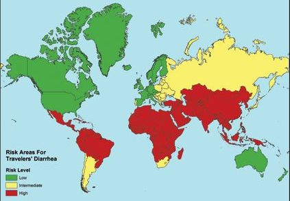cdc Travelers Diarrhea map