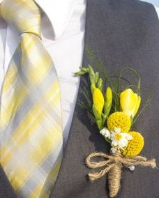 Groom's boutonniere with craspedia