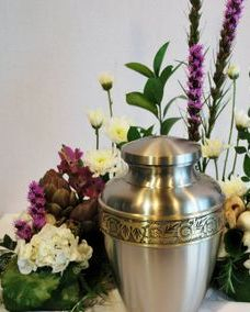 urn flowers with mushrooms