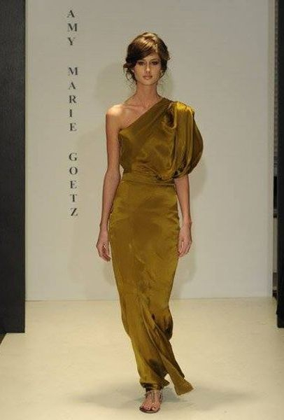 Asymetrical bronze silk evening gown