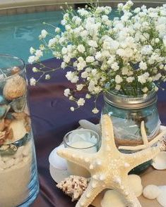 Baby's breath centerpiece with seashells