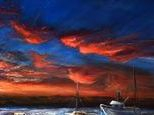 Morro Bay is the setting of this beautiful sunset oil painting