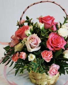 Flower girl basket with pink roses and carnations