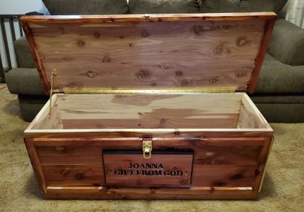 "New Build 18"" x 18"" x 48"" Hope Chest  w/ Hand Carved Sign"