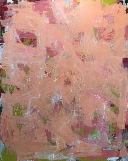 beautiful palette knife pink artwork, direct form the artist