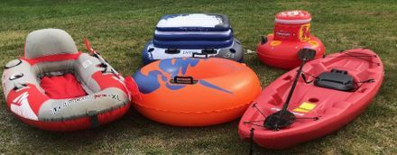 kayak, raft, tube, and coolers