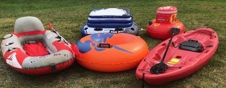 kayak, raft, tube, and coolers