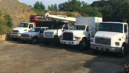 Tree Guys trucks all ready to go to a job in West Chester PA.