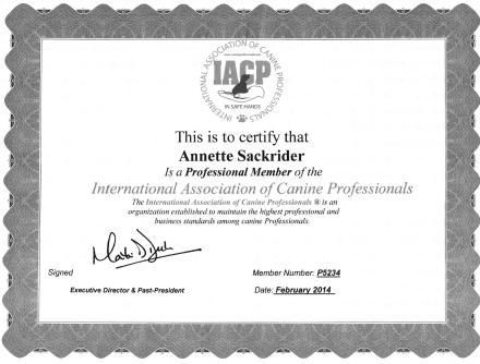 Professional Trainer Behaviorist Member IACP