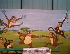 monkey bizz party jungle trees mural children hand painted