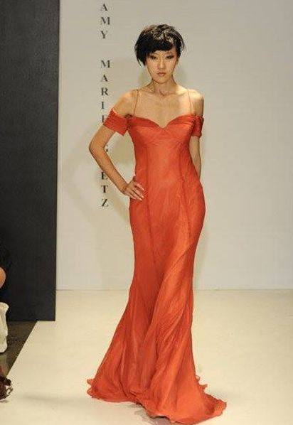 Runway Coral Off the shoulder gown