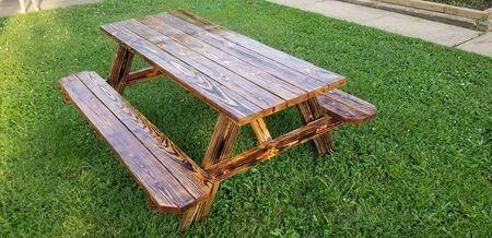 Pine burnt 6ft Long Picnic Table