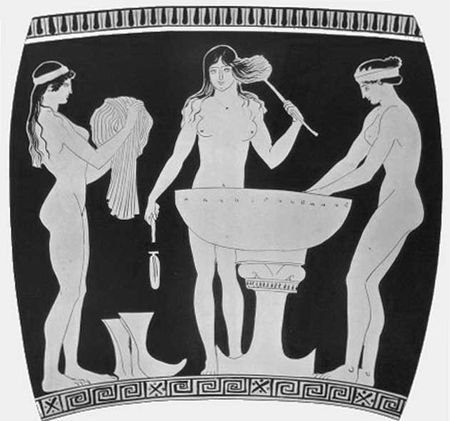 The art of Bathing, Ancient Greek potery
