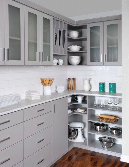 gray modern pantry idea