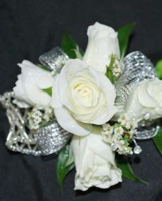white spray rose wrist corsage