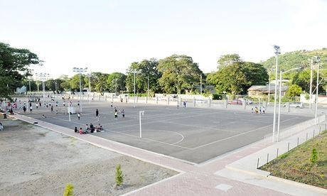Outdoor courts from Level 1 landing