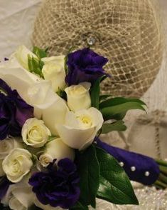 Purple lisianthus bridal bouquet